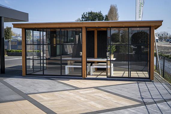 Showroom Valkenburg, veranda in een nieuwe stijl. Alleen verkrijgbaar en zichtbaar in onze showroom